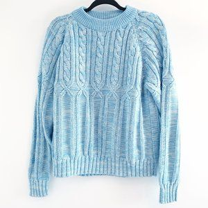 Vtg Blue and White Knitted Crewneck Sweater Large